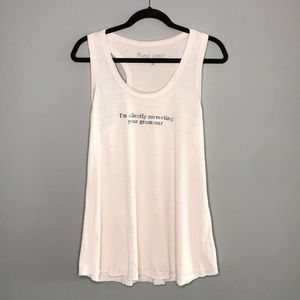 Silently Correcting Your Grammar soft pink tank  M